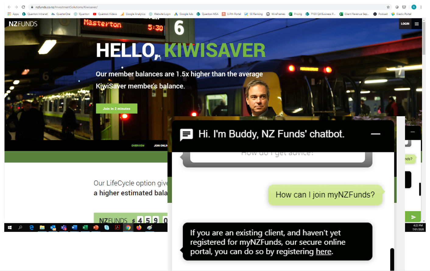 NZ Funds Chatbot Example